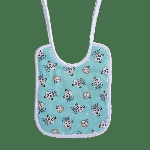 bavoir lacet panda menthe