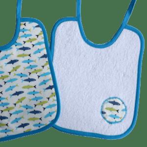 bavoir lacet poissons bleus et verts