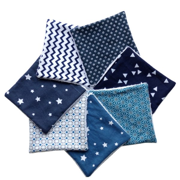 Lingettes assorties bleues